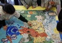 Pupil making mosaic panel