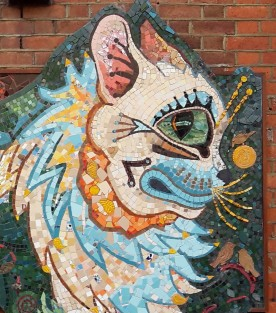 Detail of the head inspired by Louis Wain's cat illustration of Norwegian Forest cat breed.