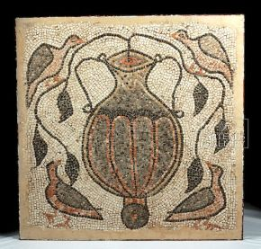 Birds and Amphora, Roman Mosaic, The Levant