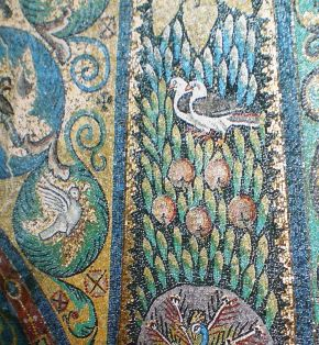 Doves and Pomegranate (detail), 5th century, San Vitale, Ravenna)